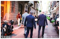 Vogue Living editor David Clark, Mike Buckley, and Inside Out editor Richard Waller on the streets during Milan Design Week.