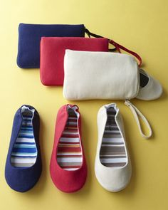 Canvas Foldable Ballet Flats  Casual just got easier for the gal on the go with these foldable canvas ballet travel flats. Select color when ordering.        Canvas upper; jersey insole, and TPR bottom.      Split sole structure and comfortable elastic backing.      Small matching wristlet for storage included.      Available in S(5-6.5), M(7-8.5), or L(9-10.5); select size when ordering.      Imported.
