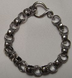 SB831 Hammered and oxidised chunky sterling silver link bracelet
