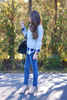 Pattern mixing plaid with leopard