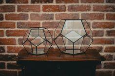 Kleine Terrarium Dodekaeder gebeizt Glas-Vase Planter für