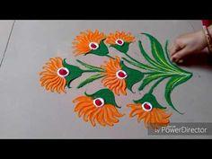 YouTube Rangoli Designs Simple Diwali, Indian Rangoli Designs, Rangoli Designs Latest, Rangoli Designs Flower, Free Hand Rangoli Design, Rangoli Ideas, Flower Rangoli, Beautiful Rangoli Designs, Kolam Designs