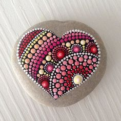 RESERVED for Ellen Heart Dot Art Mandala Painted Stone Fairy
