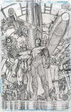 Pencils from Superman Unchained by Jim Lee. Comic Book Pages, Comic Book Artists, Comic Book Characters, Comic Artist, Comic Character, Comic Books Art, Character Design, Batman Vs, Superman Art