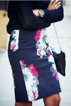 Floral skirt on trendslove. This is so cute, great for interviews and what not too!