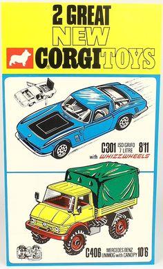 "Vintage Corgi Toys Retailer's window Banner advertising ""New"" 301 Iso Grifo and 406 Mercedes Benz Unimog"