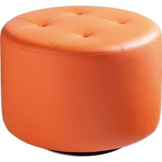 Sunpan's Domani Large Swivel Ottoman in Orange Leatherette Also in Grey, White, and Black. #ottoman #orange #modernstyle #homedecor #livingroomideas #interiors