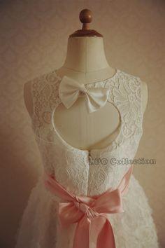 Ivory Rosette Lace Flower Girl Dress Keyhole Back for by deepado, $46.99