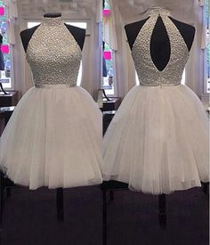 Beaded High Neck Tulle Homecoming Dress Short Prom Dress