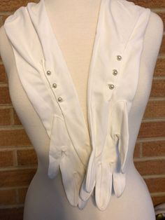 2 pair Long Cream Steampunk Flapper Opera Gloves Pear-like buttons cosplay S XS