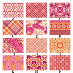 Pink and Orange Custom Crib Bedding YOU CHOOSE Your Fabrics - Notting Hill in Sapphire and Tangerine
