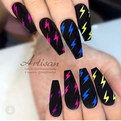 Matte Black with Colorful Neon Lightning Bolts on long Coffin Nails – neon nail art Edgy Nails, Neon Nails, Stylish Nails, Swag Nails, Neon Nail Art, Summer Acrylic Nails, Best Acrylic Nails, Lightning Nails, Purple Lightning