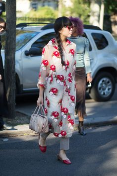 Susie Lau wearing a Simone Rocha dress and Gucci shoes