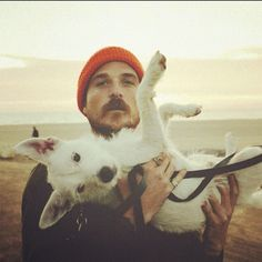 Mark Choiniere and his dog Rooster