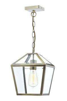 CHU0175 Churchill 1 Light Lantern Pendant Antique Brass Clear Glass panelled…