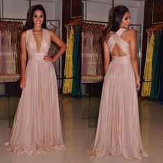 Sexy V Neck Prom Dress, Nude Prom Dress,