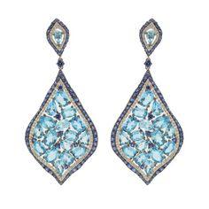 Blue Topaz and Sapphire Diamond Earrings in 18K White Gold #Jewels #Jewelry #Blue #topaz #sapphire  Follow us on Instagram: @jenkpix Visit us online: http://www.jenkdesignsny.com