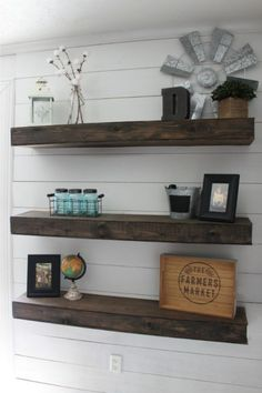 6 Blindsiding Cool Ideas: Square Floating Shelves Etsy floating shelves under tv storage.White Floating Shelves On Shiplap floating shelf with hooks entrance.Floating Shelves Under Tv Storage. Decor, Shelves, Diy Furniture, Farmhouse Diy, Diy Shiplap, Floating Shelves Diy, Floating Shelves Living Room, Shelf Design