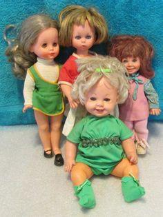 4 Vtg Italy-Furga Dolls~Painted Teeth~Vinyl/Light Plastic~Baby Doll~Curled Lash