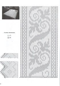 Bed cover or a lace (works as pattern fot beading) Filet Crochet Charts, Crochet Borders, Crochet Cross, Crochet Diagram, Crochet Home, Crochet Stitches, Crochet Bedspread, Crochet Curtains, Crochet Tablecloth