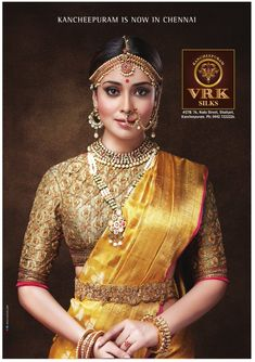 South Indian bride. Gold Indian bridal jewelry.Temple jewelry. Jhumkis.Yellow silk kanchipuram sari.Braid with fresh jasmine flowers. Tamil bride. Telugu bride. Kannada bride. Hindu bride. Malayalee bride.Kerala bride.South Indian wedding. Shriya Saran.