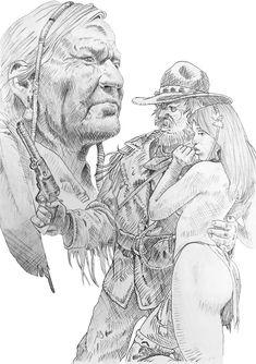 Serpieri, Jordi Bernet, Fallout New Vegas, Fantasy Comics, Cowboy Art, Dark Fantasy Art, Fantastic Art, Western Art, Book Illustration
