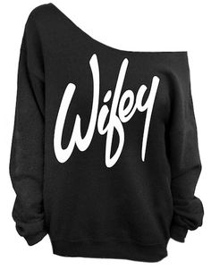 "Gray ""Wifey"" Print Off The Shoulder Sweatshirt"
