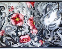 Original papier Quilling Wall Art - la belle fille et coquelicots rouges. Fait à la main. Decor. Conception.