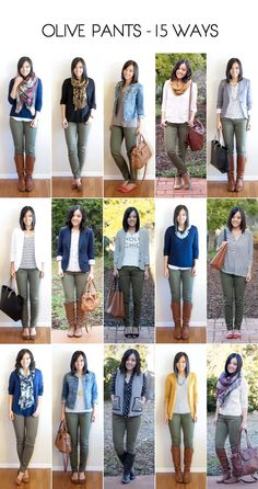 Putting Me Together: How to Wear Olive Skinny Jeans - 15 Ways. Ideas for how to wear my olive pants Outfits Pantalon Verde, Mode Outfits, Casual Outfits, Women's Casual, Dress Outfits, Capri Outfits, Woman Outfits, Olive Skinny Jeans, Olive Skinnies