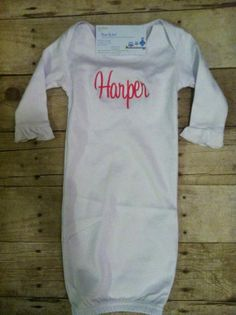 Personalizied Infant Gown for Baby Girl with Ruffle - MONOGRAM INCLUDED