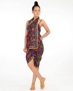 #Exclusivelyin, #IndianEthnicWear, #IndianWear, #Fashion, Royal Purple Wrap with Phulkari Embroidery