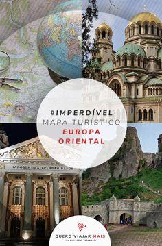 Além da faixa Ocidental, o mapa da Europa Oriental, também chamado de Central ou Leste Europeu, oferece uma viagem rica e cheia de culturas interessantes. Tourist Map