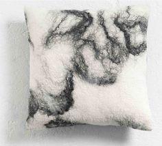 The Soft World, Japan Cushion, handmade undyed wool felt