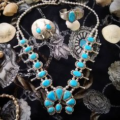 Turquoise Squash Blossom Necklace, Earrings, and Bracelet! Shop now @ www.silvertribe.com