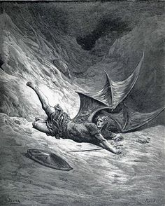 Satan Shown as the Fallen Angel after Having Been Smitten - Gustave Dore
