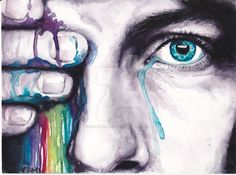 """Watercolor painting of Chris Martin's eye. Inspired by Coldplay's song """"Every Teardrop Is A Waterfall"""". (C) Cami Griffiths. If you steal my artwork. Prepare to die."""