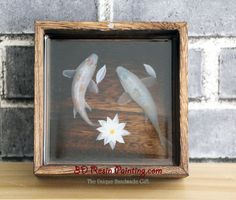 Pure white Koi fish couple resin painting in the rough wooden box