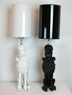 black and white poodle lamps from room service LA ___ Thank You to Visit our Website. French Poodles, Standard Poodles, Black Standard Poodle, Pink Poodle, Style Vintage, Dog Grooming, Grooming Salon, Modern Lighting, Vintage Lighting