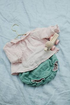 Linen Shirt Pink Baby Tunic with Ruffles Washed Linen Hand