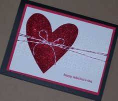 Red Glitter Heart Valentine's Day Card Handmade by Sassadoodle