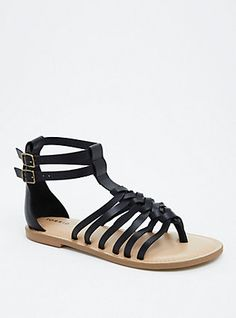 Plus Size Braided T-Strap Gladiator Sandals (Wide Width), BLACK