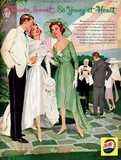 An elegant wedding themed Pepsi ad from 1958. I would love to have this exact set up! dress, hair, grooms tux, everything! even the mothers outfit for my mom!