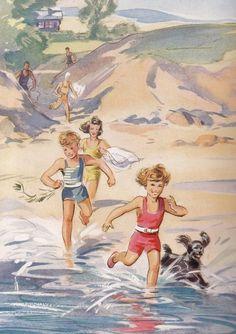 """At the Lake""  children's book illustration,by Eileen Soper."