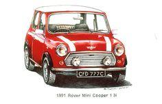 Red 1991 Rover Mini Cooper $3