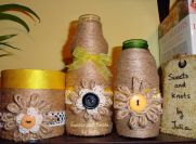 twine and lace flower vases- yellow and black trio 1
