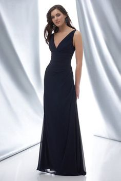 WTOO 620 Indigo crinkle chiffon v neck dress with side drapes   timelesstreasure Bridesmaid Gowns a49ab3596a55