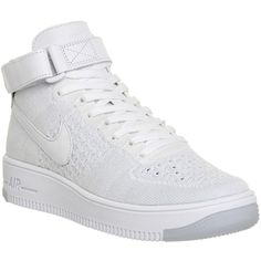 Nike Air Force 1 Mid Flyknit ($215) ❤ liked on Polyvore featuring shoes,