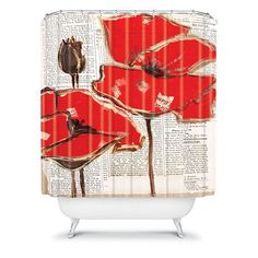 DENY Designs Irena Orlov Red Perfection Fabric Shower Curtain