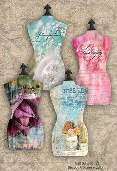 Floral Dressmaker Form Torso INSTANT by shabbycottagestudio, $2.00