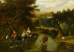 A Wooded Landscape with-Peasants in a Horse-drawn Cart Travelling Down a Flooded Road by Jan Siberechts